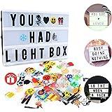 Leichte Box, CrazyFire LED Lichtkasten A4, Boxen Beleuchtung,Gestaltbare Leuchtende Kinotafel Filmischen Licht-Box mit 104 Buchstaben und 85 bunten Symbole und Emojis