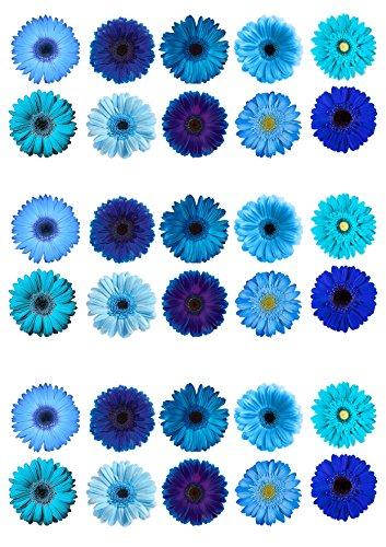 30Gorgeous gemischt blau Gerbera Essbar Wafer Papier Kuchen Topper Dekorationen