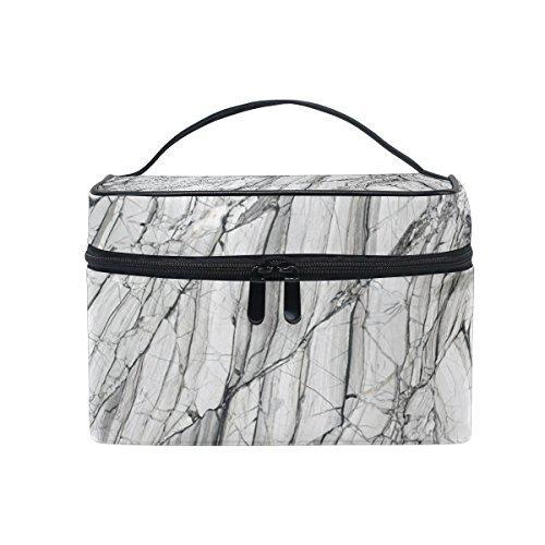 isaoa Multifunktional Make Up Tasche grau Marmor Textur Kulturbeutel Travel Kosmetik Aufbewahrung Taschen Pinsel-Kulturbeutel Tragbare Make-up Fall Tasche für Frauen Mädchen -