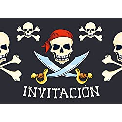 10 Invitaciones con calaveras piratas.