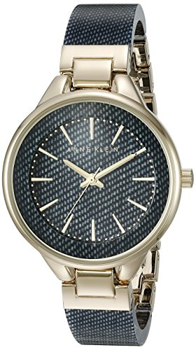 Anne Klein Women's AK/1408DKDM Gold-Tone and Dark Blue Denim Patterned Resin Bangle Watch Womens Dark Denim