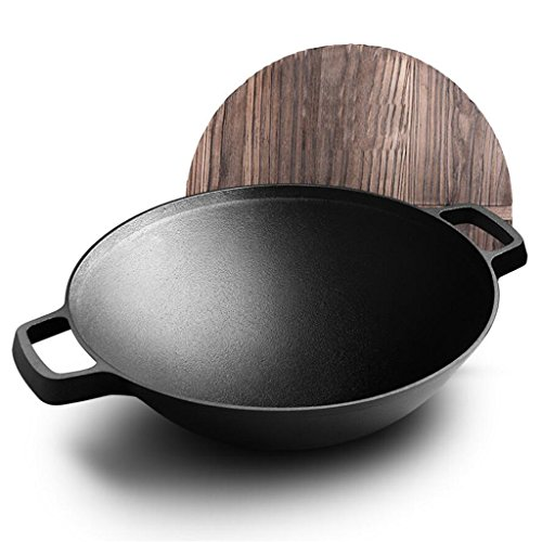 Rollsnownow Küche Binaural Wok Iron No Smoke Antihaft-Pfanne mit Holzdeckel Durchmesser 36m (14 Zoll) (Wärme Rost Bedeckt)
