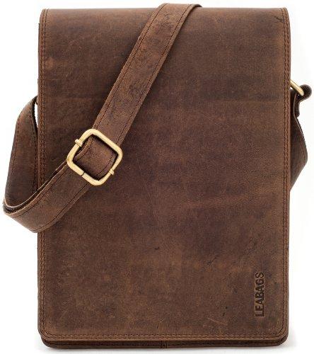 LEABAGS Dover Umhängetasche Schultertasche 10 Zoll Tablets aus echtem Leder im Vintage Look - Muskat