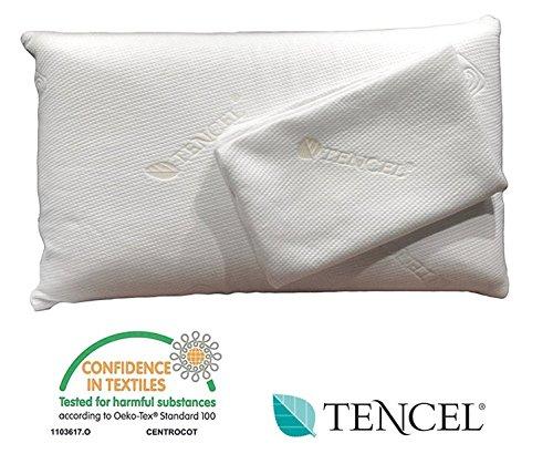 Original TENCEL® Visco Classic: Kissen 40x80 cm, H 15 cm (auch in anderen Höhen), orthopädisches Nackenstützkissen, Nackenkissen, Kopfkissen, HWS Kissen, TENCEL® Kissenbezug, 2. Kissenbezug inklusive