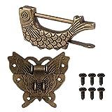 Chinesisches Schloss, geschnitzter Fisch, Vintage-Stil, mit Schlüssel und Schmetterlingsverschluss, mit Schrauben für Schrank, Schmuck, Geschenkbox