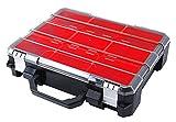 Tactix Sortimentskasten Koffer, Organizer mehrteilig, 9 herausnehmbare Boxen, extra stark, transparenter Deckel verhindert Verrutschen, 320060