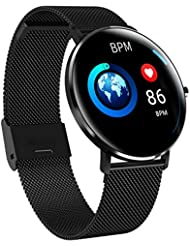 L6 Bluetooth Smart Watch Fitness Wristband Pulse Monitor Tracker IP68 Waterproof Sleep Monitor Calorie Counter GPS Sports Fitness Tracker for Women Men with iOS Android