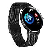 Fuibo Smartwatch Fitness Tracker, 1,22 Zoll Farbiger Vollbildschirm IP68 Wasserdichte Pulsuhr Schlafmonitor rundes Smart Watch berührbares, Anti-Fingerabdrücke Sportuhr (Schwarz)