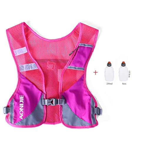 Imagen de aonijie  chaleco y  de hidratación ligero, para actividades al aire libre, senderismo, maratón, escalada, ciclismo, con 2 botellas de 250 ml , hot pink