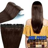 Clip in Extensions Echthaar günstig Haarverlängerung 1 Tessse 5 Clips Haarteile Echthaar Remy Human Hair 45cm-50g(#2 Dunkelbraun)