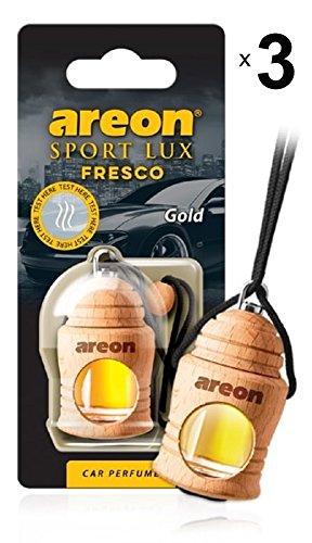 Areon Fresco Sport Lux Gold Ambientador Aire Coche Colgando Espejo Retrovisor Botella de Vidrio Madera Gadget 3D Decoración Interior Casa Oficina Olores Paquete Múltiple (Oro Conjunto de 3)