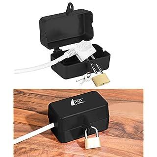 AGT Steckerschloss: Abschließbare Stromstecker-Schutzbox mit Vorhängeschloss, 2 Schlüssel (Steckersafe)