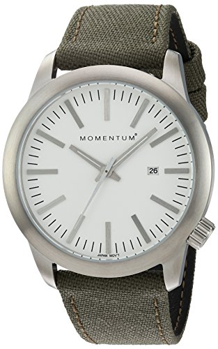 Momentum Men's Quartz Stainless Steel and Canvas Dress Watch, Color:Green (Model: 1M-SP10W6G)