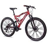 CHRISSON 26 Zoll Mountainbike Fully - Emoter rot - Vollfederung Mountain Bike mit 21 Gang Shimano Tourney Kettenschaltung - MTB Fahrrad für Herren und Damen mit Zoom Federgabel