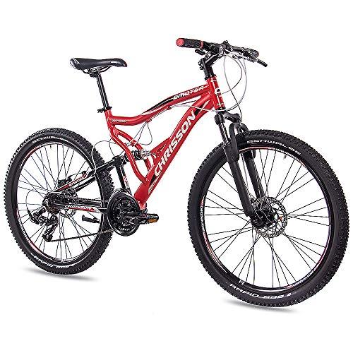 CHRISSON 26 Zoll Mountainbike Fully - Emoter rot - Vollfederung Mountain Bike mit 21 Gang Shimano Tourney Kettenschaltung - MTB Fahrrad für Herren und Damen mit Zoom Federgabel -