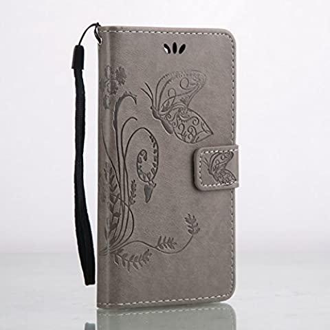 Cozy Hut Custodia portafoglio / wallet / libro in pelle per Huawei Y6 pro Custodia in Pelle Stampata Morbida PU Case Cover - Cover elegante e di alta qualità,Funzione di sostegno Stand,con la copertura del raccoglitore per la Carte - Progettazione fiore e la farfalla sollievo per Huawei Y6 pro -