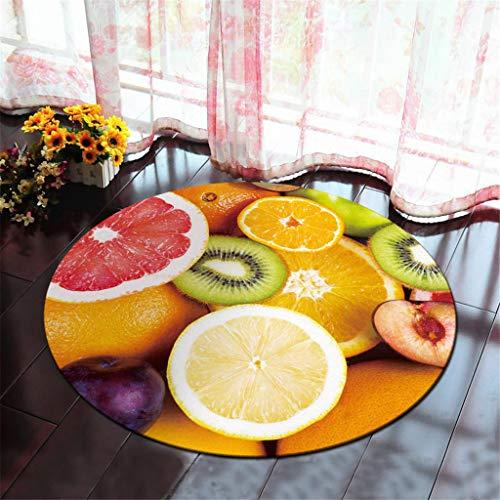 Xmansky Zitronen-Orange-Serie Teppich,Sommer Obst Serie Druck runde kristall samt küche Anti-Slip Matte kinderzimmer Teppich Küchenmatte Durchmesser 60/80/100 cm - Küche-serie