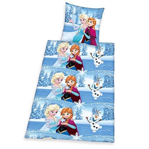 Herding 4680048050522 Bettwäsche Disney's Eiskönigin, Kopfkissenbezug 80 x 80 cm mit Bettbezug 135 x 200 cm, 100% Baumwolle, Flanell / Biber
