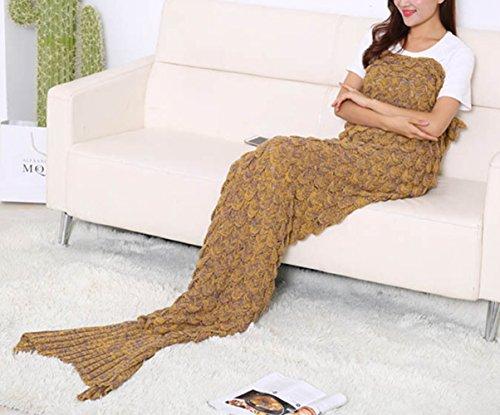 eerjungfrau Decke Fischschwanz Wolldecke Häkelarbeit mit Skalen Muster für Erwachsene Gelb 195x90 (Fischschwanz-der Film)