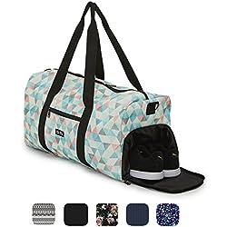 Elegante bolso deportivo Ela Mo, bolsa de viaje con compartiment para zapatos, maletín de mano de 38 l, Weekender, unisex, en 6 diseños de moda, color Pastel Shades, tamaño large