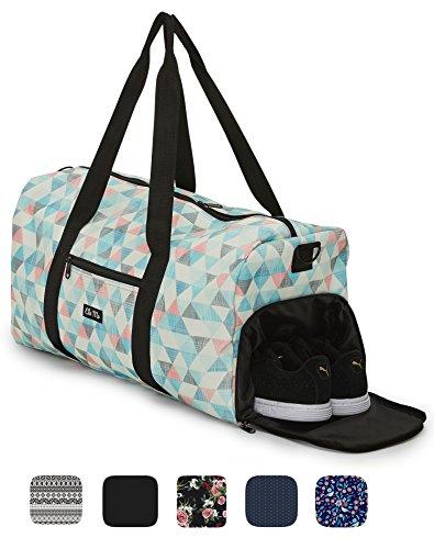 Ela Mo's Elegante Sporttasche Reisetasche mit Schuhfach | 38 Liter Handgepäck Weekender | für Frauen und Männer | in 6 trendigen Designs