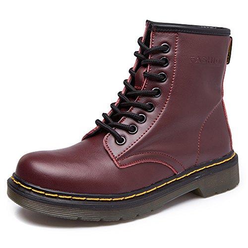 SITAILE Unisex-Erwachsene Bootsschuhe Derby Schnürhalbschuhe Kurzschaft Stiefel Winter Boots für Herren Damen B-Rot mit Gefütterte