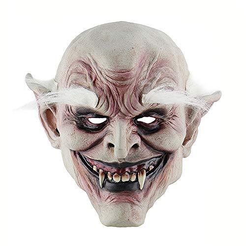 White-browed old demon halloween horror diavolo maschera in lattice copricapo vampiro haunted house evil killer fancy dress