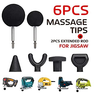 Jigsaw Massage Adapter und Bits, 6Pcs Percussion Massage Tips mit 2Pcs Rods für Jigsaw Massager Adapter Attachment Worx