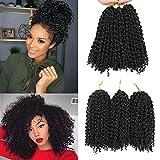 Cheveux au Crochet Marlybob Courts 8 pouces 6 Bundles/Lot Kinky Curly Crochet Braids Ombre Tressage Cheveux Synthétiques Extension de Cheveux (1B)
