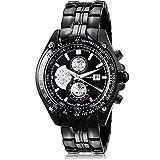 Wasserdicht Herren Militär Quarzuhr Wolfram Stahl analoge Uhr Big Face Armbanduhr–Schwarz