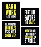 #4: 4 PIECE SET OF FRAMED WALL HANGING MOTIVATIONAL OFFICE DECOR ART PRINTS 8.7 INCH X 8.7 INCH WITHOUT GLASS