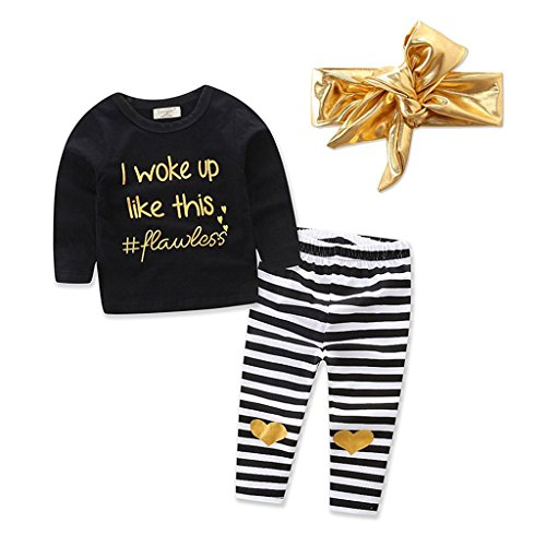 Babykleidung Mädchen Set,3pcs Kleinkind Baby Mädchen Herbst Kleidung Set Tops + Pants Outfits + Haarschmuck
