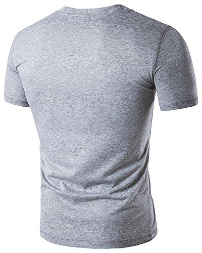 Herren Basic Kurzarm T-Shirt Slim Fit Mit Knopf Hellgrau