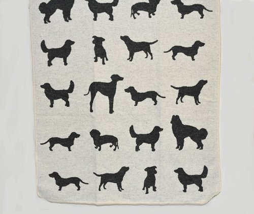 "David Fussenegger 62296079 Juwel - Haustierdecke - \""Hunde allover\"" - Farbe: rohweiß / schwarz - 70 x 90 cm"