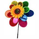 munloo Tweelaagse kleurrijke windmolen, pinwheel decoraties tuindecoratie van balkon of terras, molens voor tuin voor feest