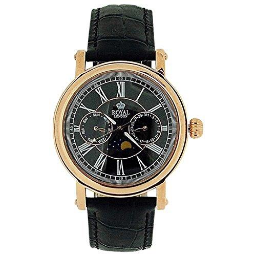 Royal London 40089-06 - Reloj para hombres, correa de cuero color negro