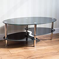 Vida Designs Cara Black Coffee Table, Glass with Chrome Legs