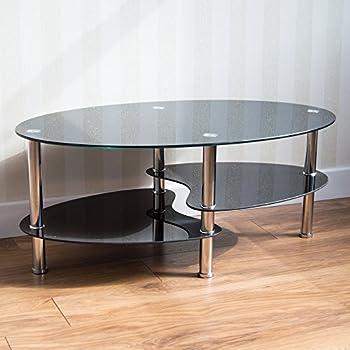 Neotechs Modern Black Glass Chrome Oval Living Room Coffee