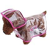 YiJee Hund Regenmantel Hunderegenmantel Transparent Wasserdicht Kleidung Pink L