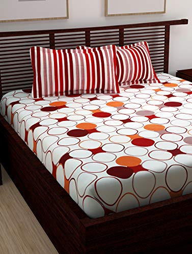 Candy Queen Cotton Double BedSheet for Double Bed with 2 Pillow Covers Set