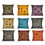 Stylla London indischen Vintage Baumwolle Kissenbezug mit Stickerei und Patchwork, recyceltem Stoff, Mehrfarbig, 41x 16.38X 1.57cm