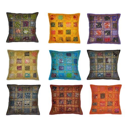 Stylla London Housse de coussin style indien avec broderie et patchwork, tissu recyclé, coton, Multicolore, 41 x 16.38 x 1.57 cm
