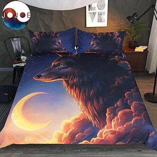 Hohe Qualität Luxus JoJoesArt Bettwäsche-Set Wolf und der New Moon Bettbezug mit Kissenbezügen könnte Bett decken 3pcs Bettwäsche-Set (twin) (Twin-bett Set Bettwäsche)