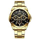 XLORDX Herren Uhren Business Sport Chronograph Gold Edelstahl Armbanduhr Design Modisch Analog Quarzuhr Schwarz