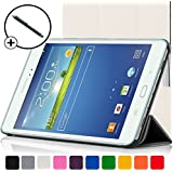 Forefront Cases Leather Case Cover with Magnetic Auto Sleep Wake Function and Stylus Pen for 8 inch Samsung Galaxy Tab 3 - White