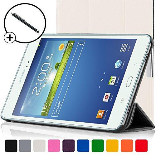 ForeFront Cases®-Case con soporte funda de piel sintética para Samsung Galaxy Tab 38.08GB 3G + WiFi-con Magnético Auto de función de reposo-Incluyen lápiz blanco blanco Galaxy Tab 3
