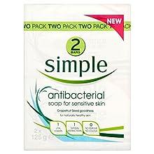 Simple Antibacterial Bar Soap for Senstive Skin (2x125g) - Pack of 6