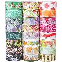 24 Cintas Adhesivas Washi Tape,Colección Decorativa de Cinta Adhesiva, Cinta Para Artesanías de Bricolaje y Envoltorio de Regalo