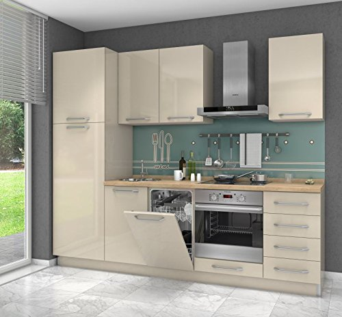 Küchenzeile/Küchenblock Fagali 12, 7-teilig, Farbe: Creme Hochglanz