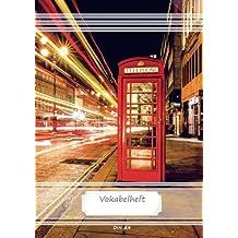 Vokabelheft DIN A4: 70 Seiten liniert, 3 Spalten, Lineatur 54 - London Phone Box (Motiv Vokabelhefte)